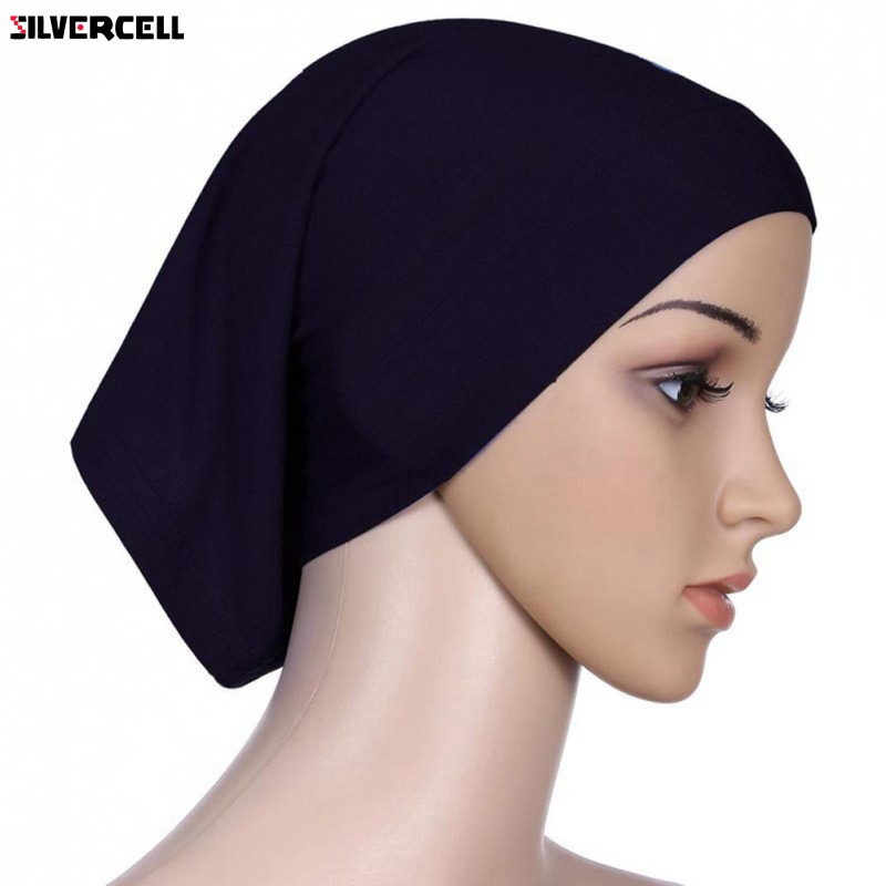 Women Soft Under Scarf Tube Bonnet Cap Bone Islamic Head Cover Hijab 20 Colors