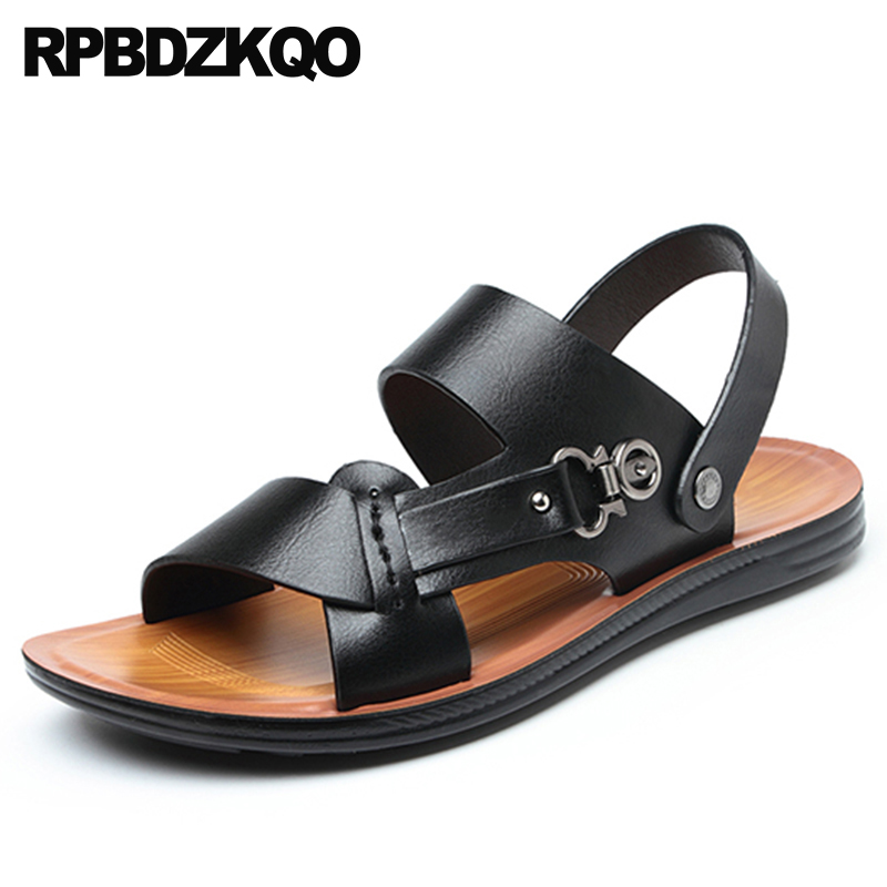 Buy Beach Black Shoes Slippers Fashion Sport Slides Leather Native Open Toe Slip On Waterproof Mens Sandals 2018 Summer Outdoor for only 43.86 USD