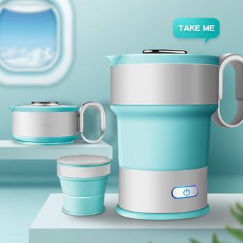 220 V przenośny czajnik elektryczny składane podróży czajnik silikonowy Camping wody w kotle czajnik do herbaty domu automatyczne wyłączanie zasilania czajnik tanie i dobre opinie LIFE ELEMENT Underpan ogrzewania 500 w 1l Spożywczy PP 2018 Funkcja bezpieczeństwa auto-off Czajnik mark Cordless