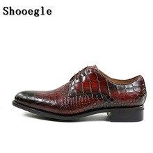 SHOOEGLE Мужская обувь Для мужчин роскошные кожаные туфли ручной работы на шнуровке платье обувь для вечеринки, свадебные туфли с изысканной коробке размер 38-47
