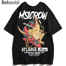 Bebovizi Men Japanese Style Oversize Loose Tshirts Streetwear Demon Toad Print Short Sleeve T Shirts Hip Hop New Designer Tops