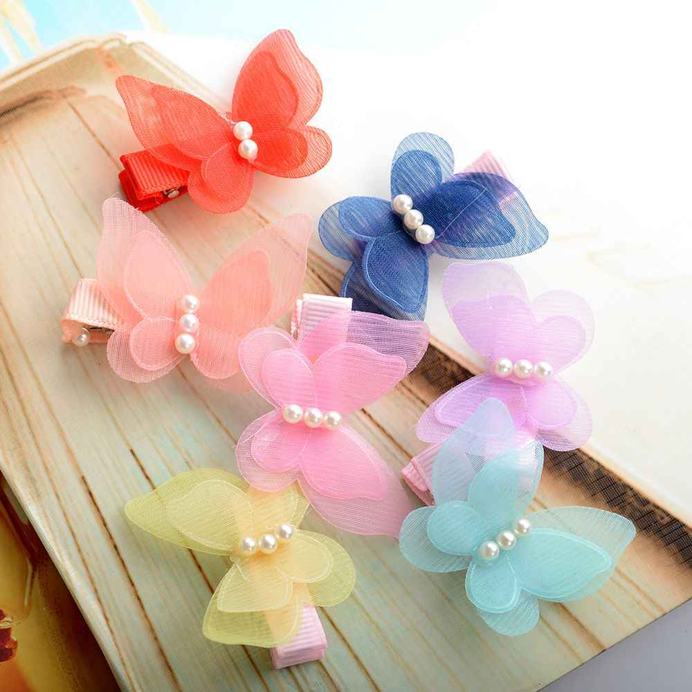 Hot sale 1PC Candy Color Butterfly Children Hair Accessories Headwear Hair Hoop Baby Girl Hair Clip bowknot Hairpin Toddler
