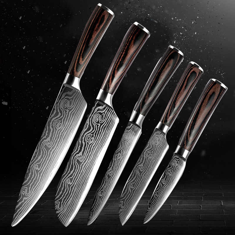 "Hot Sale 8""inch japanese Utility Chef Knives Damascus steel Santoku kitchen Knives Sharp Cleaver Slicing Knives Gift Knife"