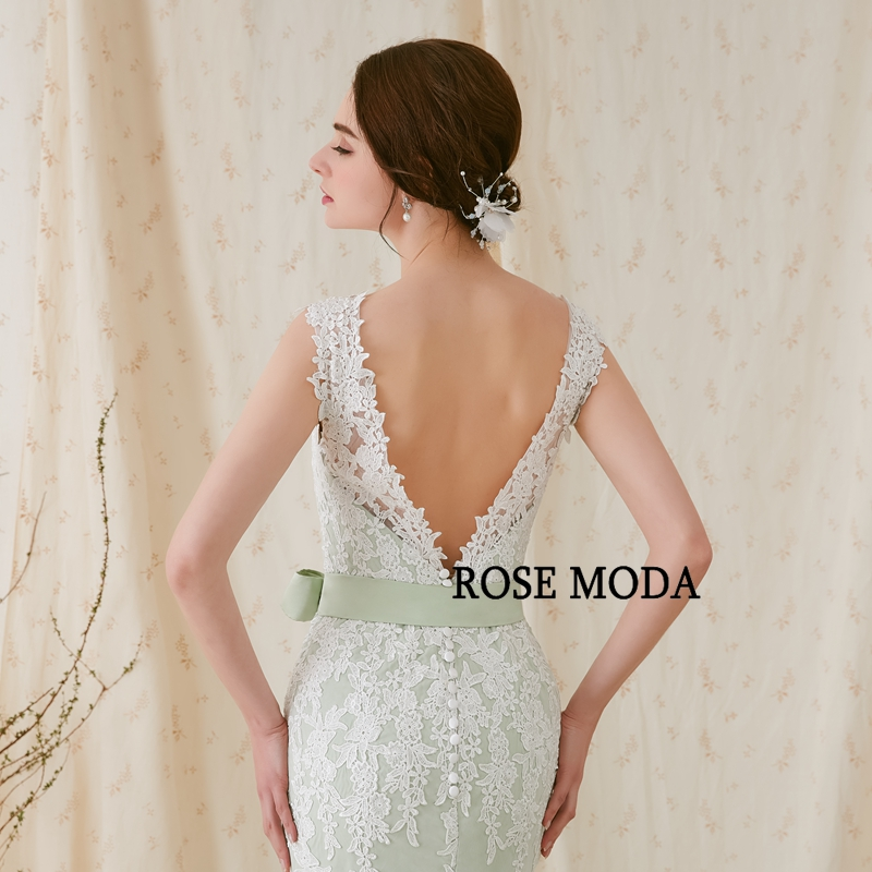 Купить с кэшбэком Rose Moda V Neck Mermaid Wedding Dress Green Wedding Dresses with Lace Backless Real Photos