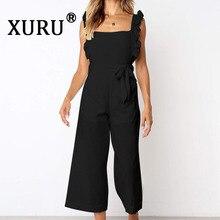 XURU summer new women's jumpsuit straps slim nine points wide leg jumpsuit black orange jumpsuit