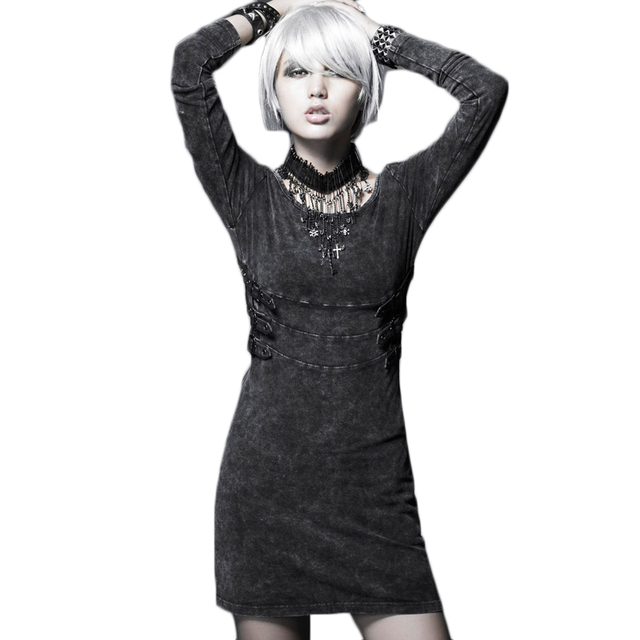 Gothic rock punk dress vrouwen lange mouwen vintage gebreide slim fit jurken vrouwelijke goedkope chinese kleding q-211 zwarte kleur