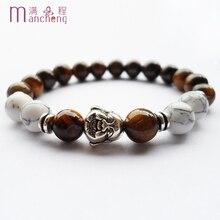 Men Buddha head beads Yoga bracelet,New arrive natural Tiger eyes beaded bracelet with women,Unisex buddha