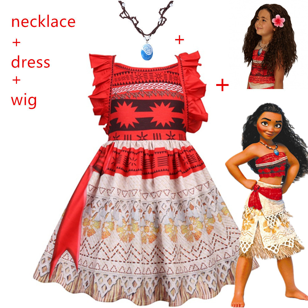 2019 Carnival Baby Girl Princess Moana Cosplay Costumes For Children Vaiana Dress Halloween Costume For Kid Little Girls Dresses