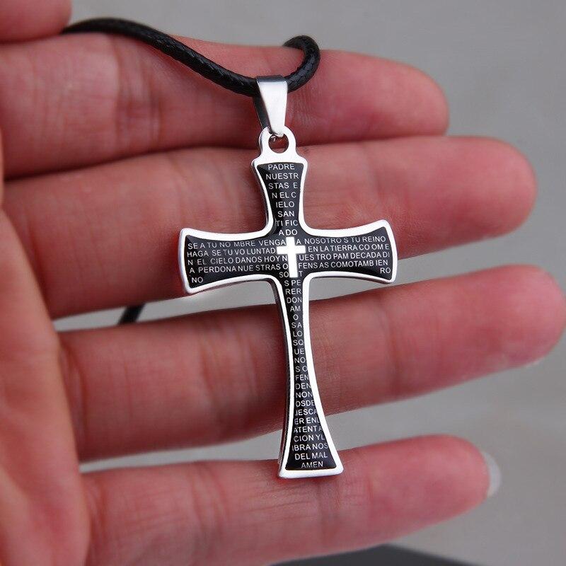 Titanium Cross Necklace for Women Man Silver necklaces & pendants bts Accessories Pendant Chain Necklace Letters Male Choker