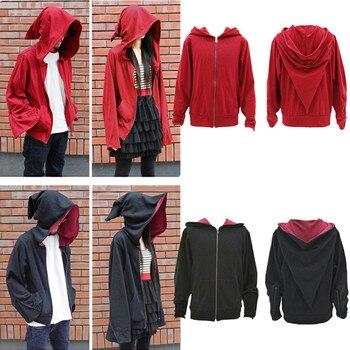 السحر ساحرة معالج عارضة سترة الأحمر غطاء رأس أسود البلوز سستة معطف تأثيري ازياء