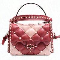 2019New женские Модные сумки на плечо из натуральной кожи роскошные Сумки Для женщин сумки дизайнер заклепки Стиль овчины Сумки для дам