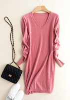 100%goat cashmere knit women's commuting pullover sweater dress mid long above knees V/O neck S/5XL wholesale retail