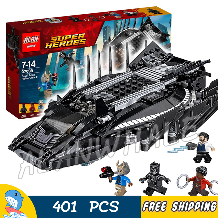 401pcs Super Heroes Black Panther Royal Talon Fighter Attack Nakia 07099 Model Building Blocks Toys Bricks Compatible With lego single sale the avengersr building blocks killer croc dolls super heroes black panther hulk black widow chrom vision kids toys