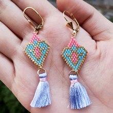 FAIRYWOO-pendientes geométricos Miyuki para mujer, joyería india, corazón, borla larga, aretes de cuentas de vidrio dulce para mujer, regalos de lujo hechos a mano