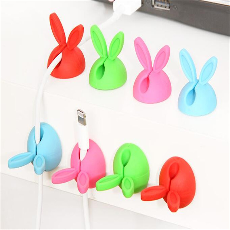 4pcs/lot Candy Color Desk Organizers Set Lovely Rabbit Wire Clip Cable Manager School Office Stationery Supplies