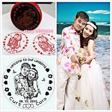 5 CENTIMETRI Rotonda Tenuta Fotosensibile Gli Amanti di Souvenir Foto Decorativo Timbro Personalizzato Da Sposa Su Misura Regalo del Bollo Per Invito