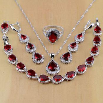 52e17dacb179 Agua gota 925 joyería de plata esterlina rojo cubic zirconia blanco CZ  Juegos de joyería mujeres Pendientes colgante Collar Anillos  pulsera