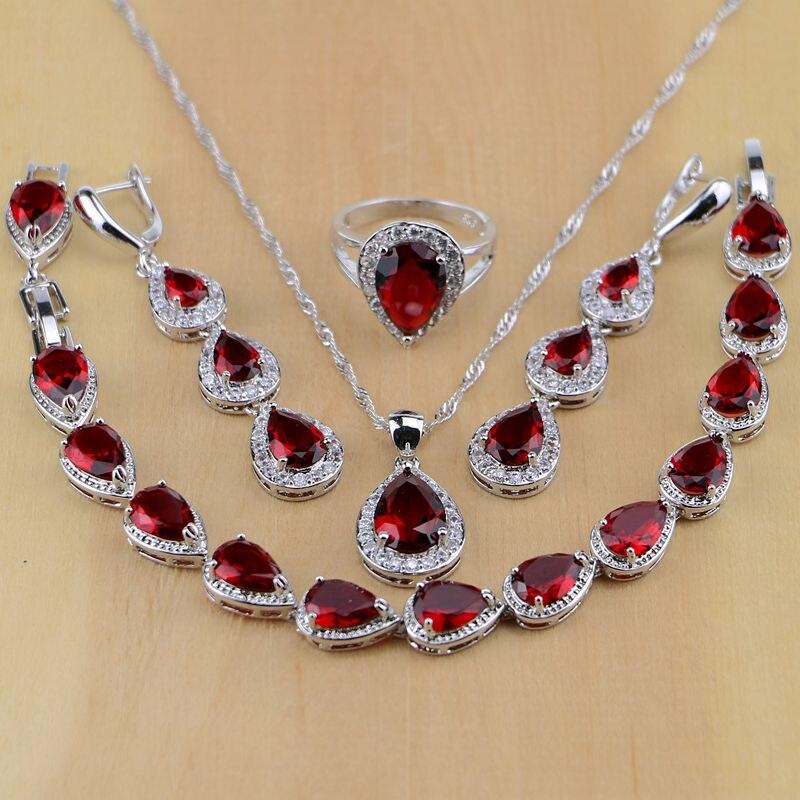 Wassertropfen 925 Sterling Silber Schmuck Red Zirkonia Weiß CZ Schmuck-Sets Frauen Ohrringe/Anhänger/Halskette/ringe/Armband