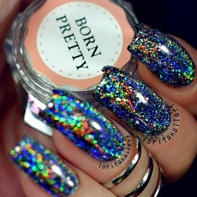 Born Pretty Galaxy Holographic Nail Glitter Laser Holo Nail Sequins Paillettes Pigment Powder
