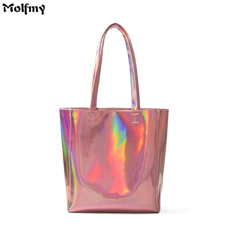 2018 New Women Handbag Laser Hologram Leather Shoulder Bag Lady Single Shopping Bags Large Capacity Casual Tote Bolsa Silver smalto st4g001m0011