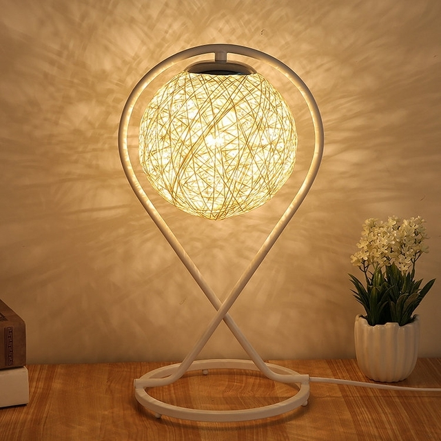 Led table lights stand with e27 bulb ball shade modern art deco ...