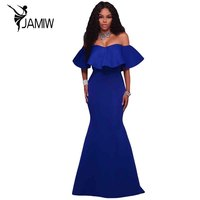 Mermaid Dress Off Shoulder Sexy Formal Gowns Royal Blue Ruffle Ponti Maxi Party Dress Vestido De