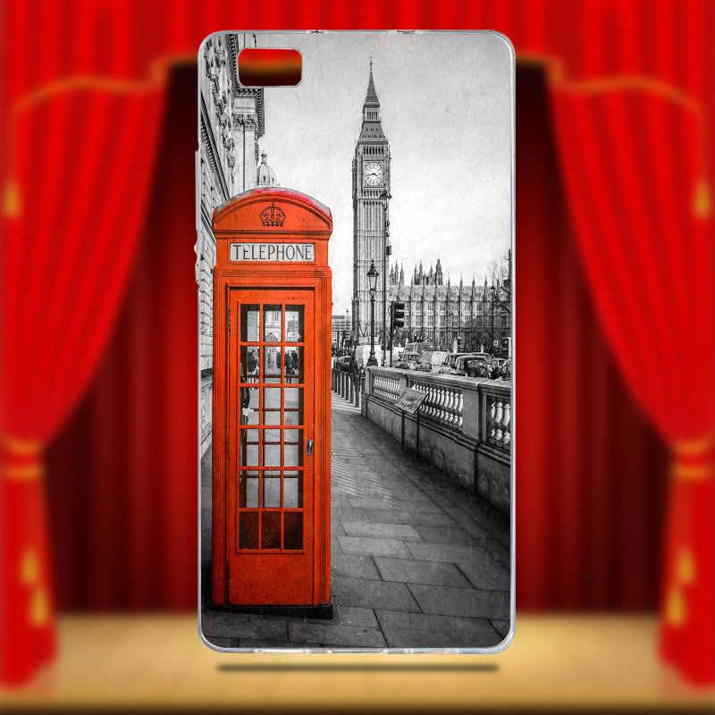Vintage Londres Cabine téléphonique de Téléphone TPU Souple étui pour huawei P8 P9 P10 P20 Lite Mate 10 Pro Y5 Y6 II Y7 Honor 6X7X9 Lite Sacs
