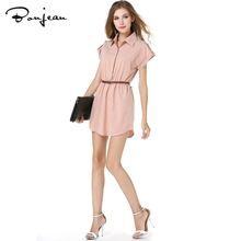 Women Shirts Dress Sleeveless Solid Summer Fashion New Shirt Dress Casual Dresses With Belt