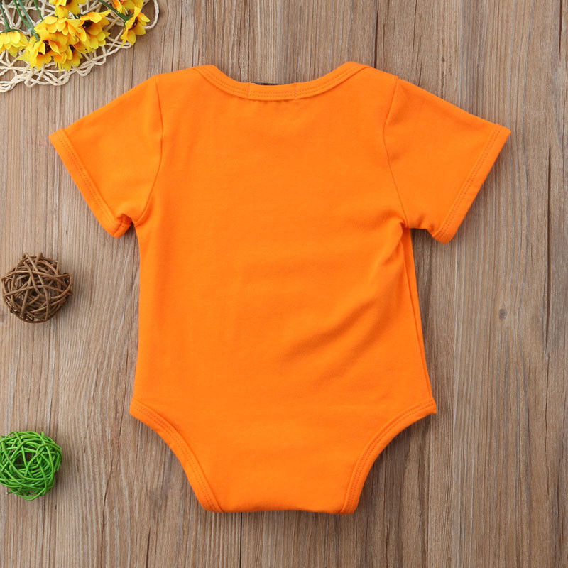 Newborn Baby Boy Girl Short Sleeve Bodysuit Halloween Pumpkin Clothes Outfit Costume Holiday Baby Clothing