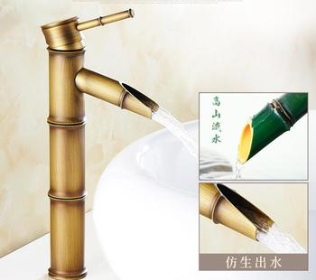Antique copper continental hot and cold basin wash above counter basin single hole retro bathroom sink bamboo faucet LU41335