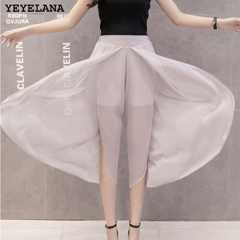 YEYELANA Women Loose Wide Leg Casual Pants 2018 New High Waist Was Thin Wild Nine Pants