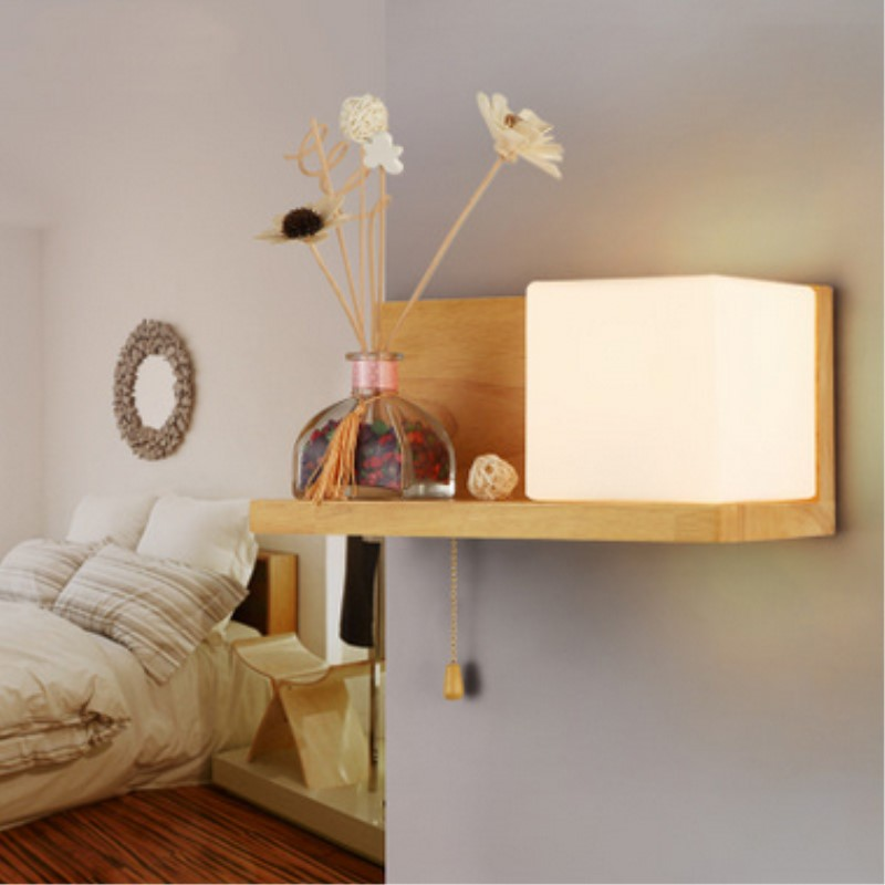 Japanese Style Modern Creative Concise Art Wood Wall Light Loft Parlor Study / Bedroom Decoration Lamp Free Shipping classic modern soap bubble creative wall lamp bedroom study bedside soap bubble wall light free shipping