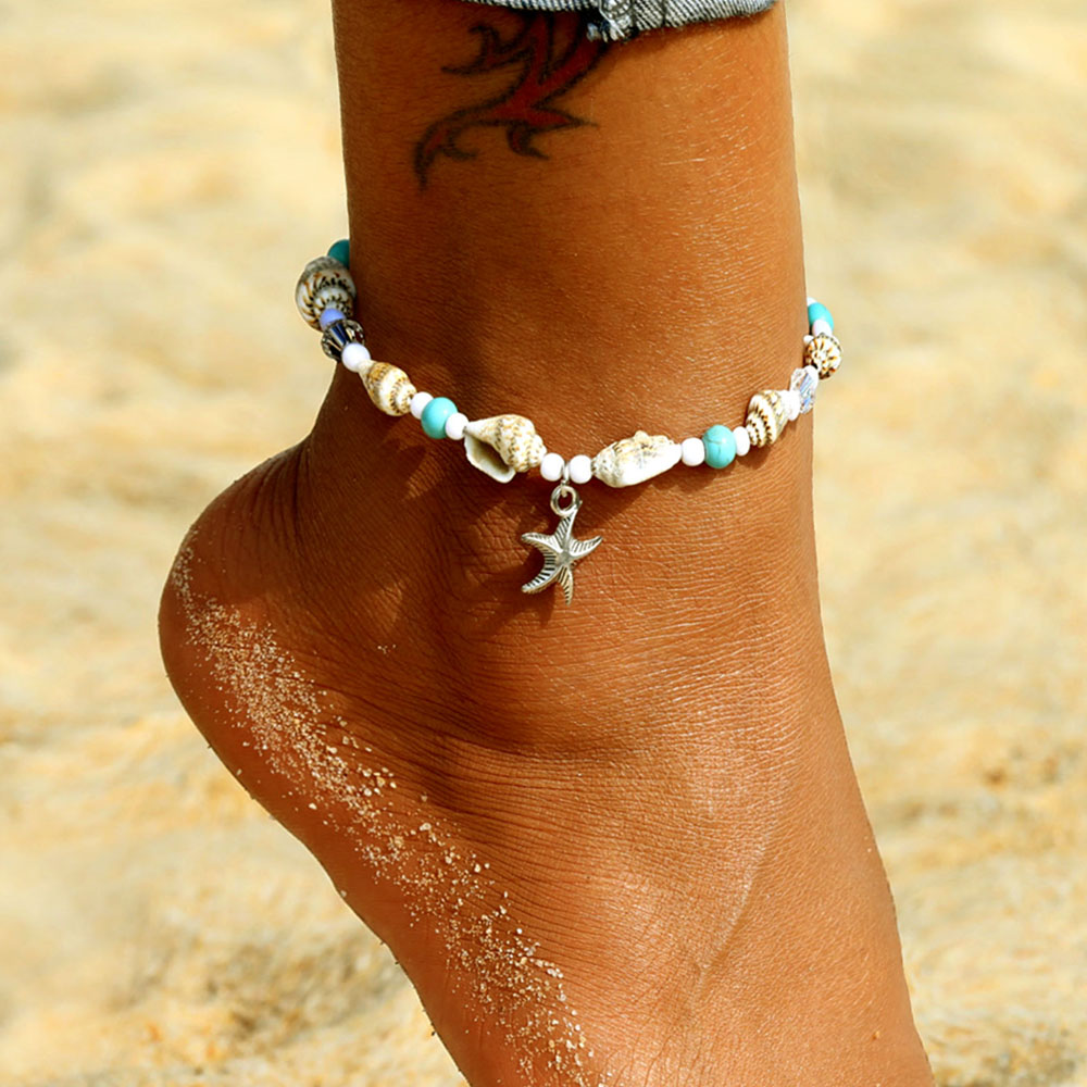 Vintage Natural Sea Shell Conch Anklet 2019 Summer Female Starfish Pendant Beaded Legs Foot Ankle Sandals Bohemian Style Jewelry