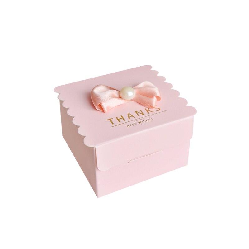 50 pcs/lot carré avec perle bonbons boîte papier cadeau sacs pour fête bébé douche anniversaire mariage bonbons boîte fête fournitures - 4