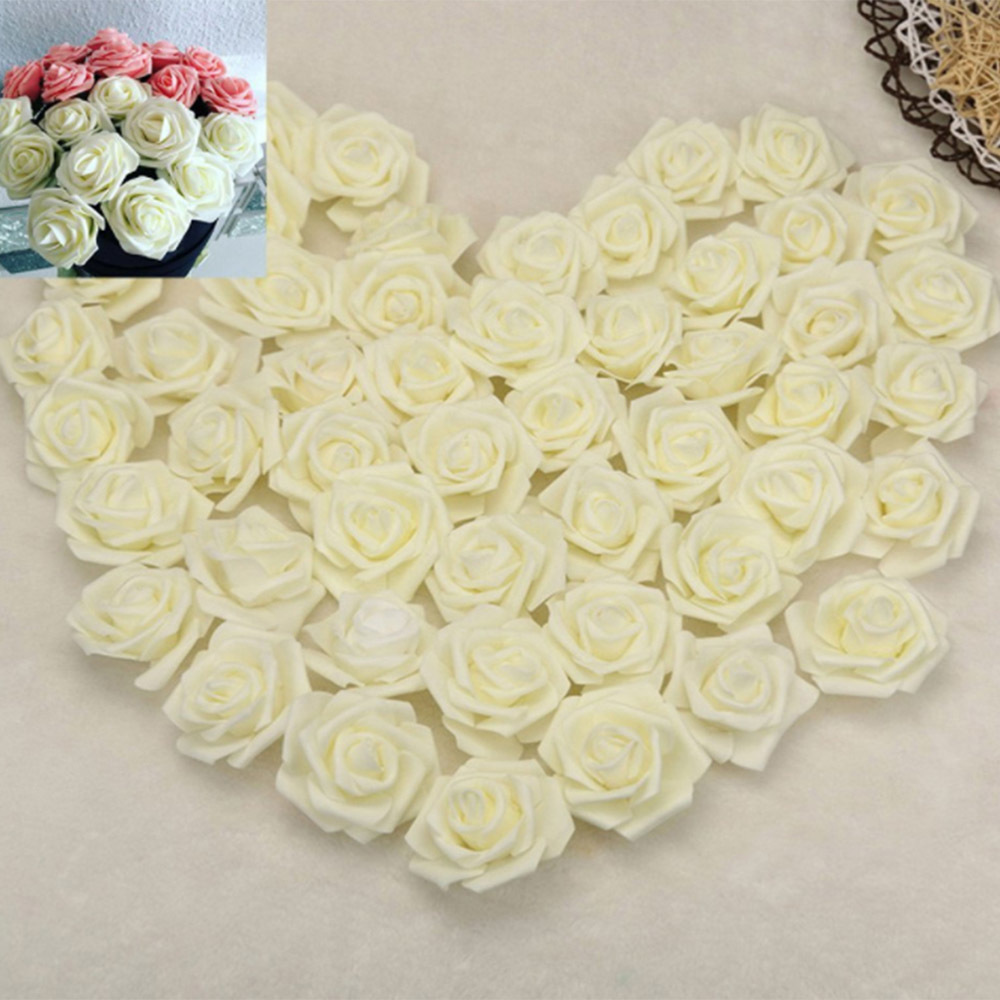 100 Pcs/Set 2.8inch Foam Rose Heads Artificial Flowers White Wedding ...