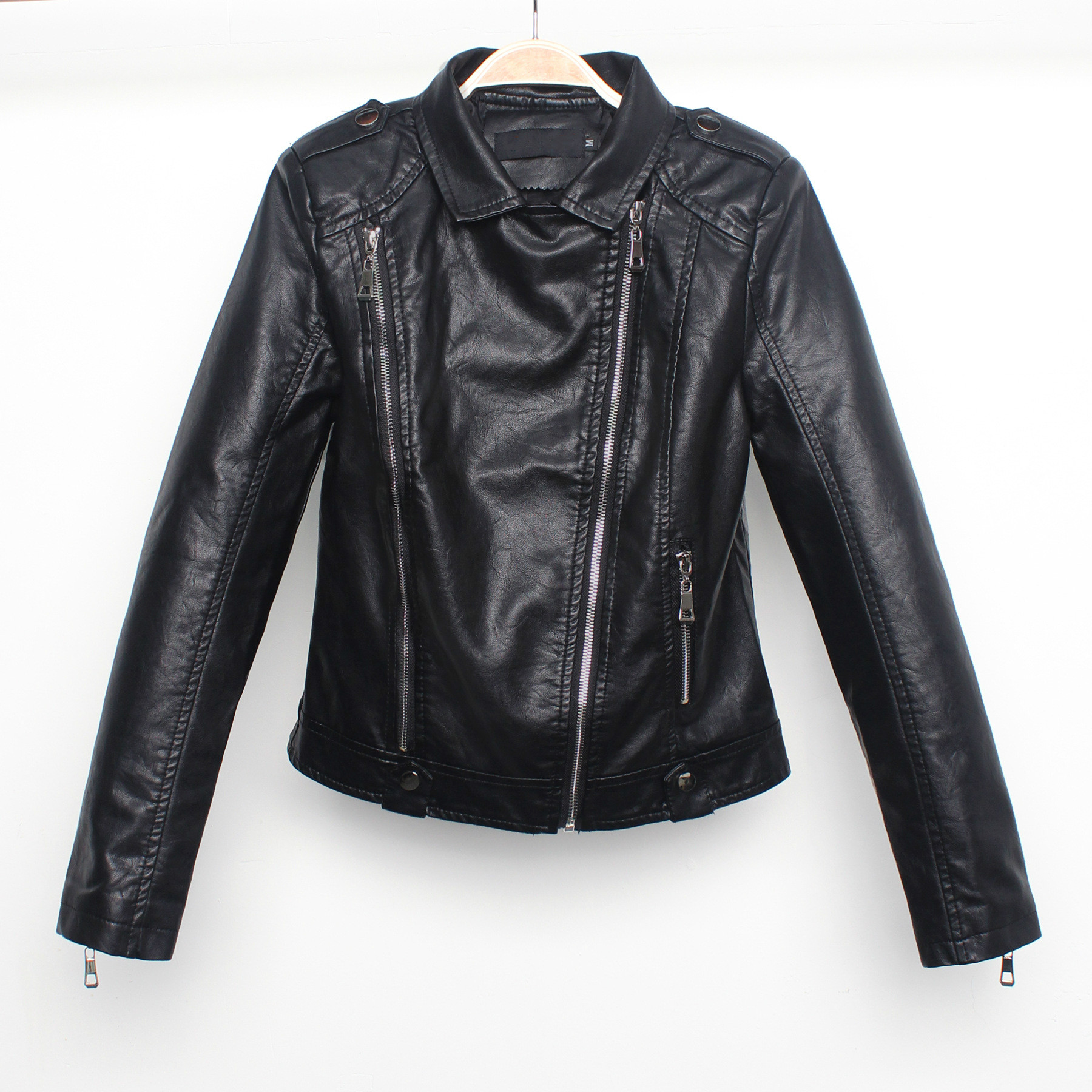 Women Long Sleeve Lapel Short Black Motorcycle Coats Biker Jacket with Zipper Casual PU Faux   Leather   Jacket Moto Girls Big Size