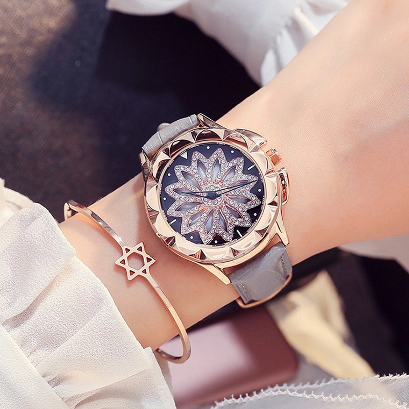 Female Watches Women Quartz Watch Ladies Wristwatches Rose Gold Rotating Dial Girl Clock Top Drand Luxury relogio feminino top luxury wristwatches gold silver plated with austrian crystal ladies digital quartz watch waterproof drop shipping