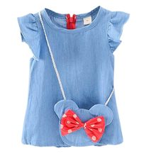 Verão do bebê meninas bonito bowknot sem mangas princesa denim vestido crianças casuais da criança vestidos sólidos roupas conjunto novo algodão
