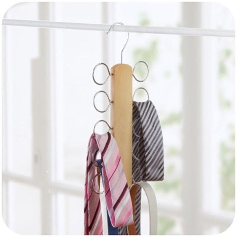 2 pcs/lot 30 cm Theaceae bois cintre pour foulards cravate avec 10 boucles en métal chromé placard gain de place en bois Rack pour cravate - 3