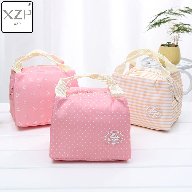 XZP Thermal Lunch Bags Fresh Pink Cherry Tote Lunch Bags Polyester Peach Skin Portable Butterfly Thermal Convenient Lunch Bags