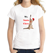 Funny Ms. Santa Claws Cat Print Christmas T Shirt for Women Cute Girls Hilarious Xmas Short Sleeve Tee Plus Size S-XXXL