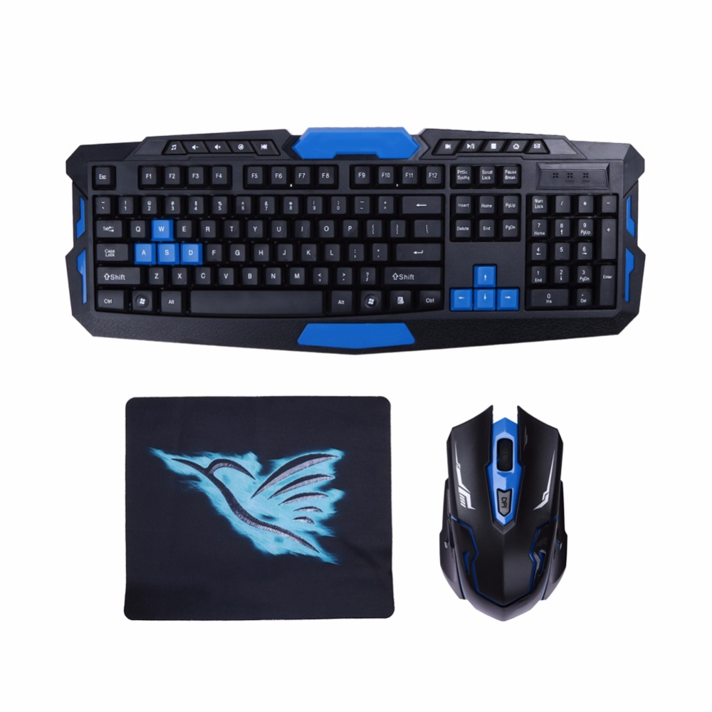 2.4G USB Wireless Gaming Keyboard Mouse Combo Set Multimedia Game Gamer Kit with Mouse Pad For Desktop PC Laptop Gamer