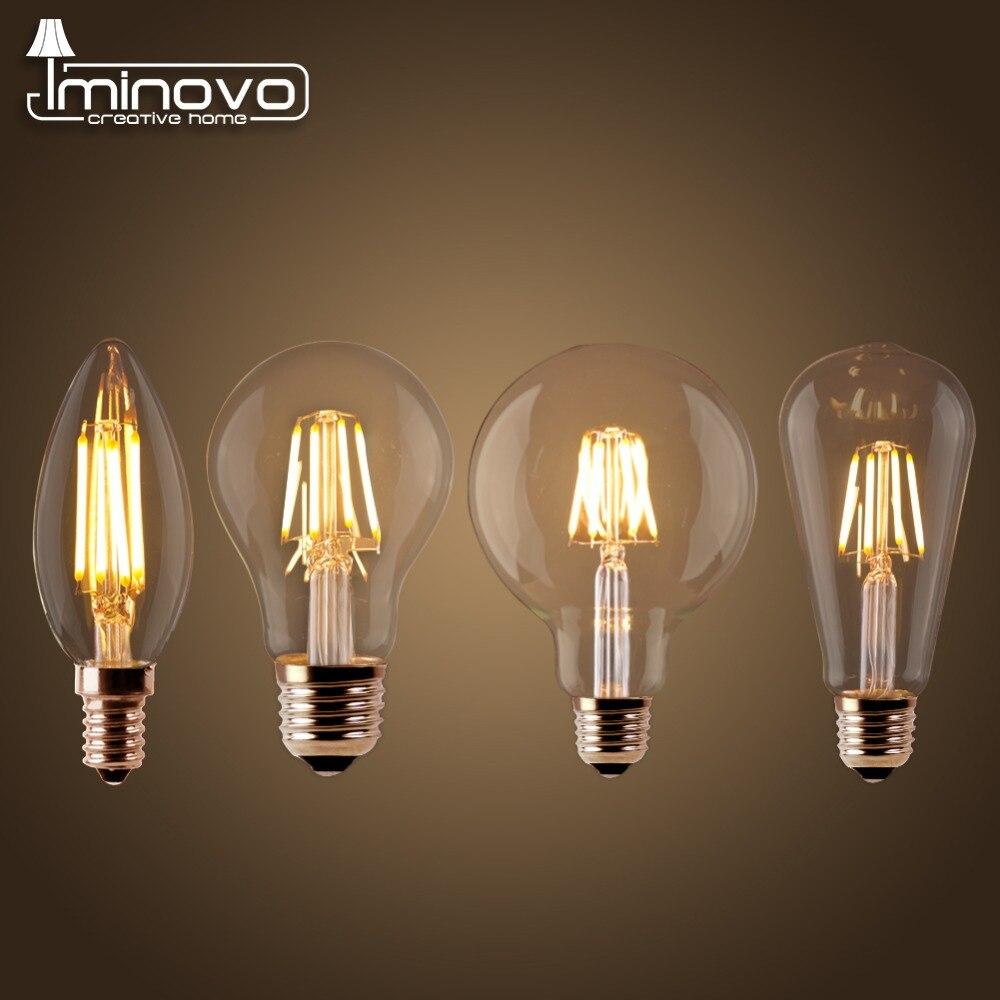 Светодиодные лампы накаливания E27 ретро Эдисон лампа 220 В E14 Винтаж свечах Глобусы люстра Освещение удара Домашний Декор энергосбережения