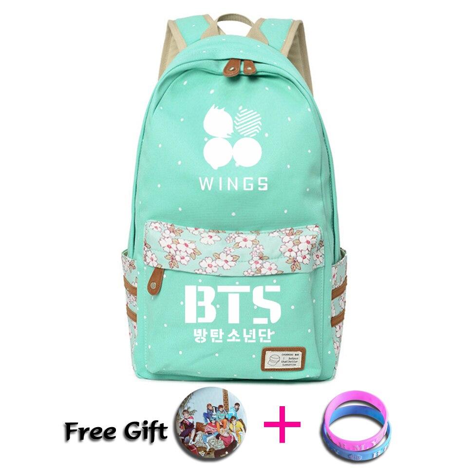 2018 Kpop BTS mochila flor onda punto mochila niñas mujeres rugtas mochila escolar Bangtan niño alas viaje bolso de hombro
