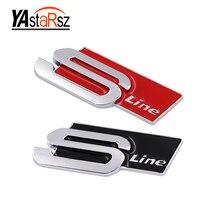 1 Pcs RED/BLACK METAL Sline S LINE SIDE FENDER REAR TRUNK Badge Emblem Sticker for Audi S3 S4 S5 S6 S8 A1 A3 A4 A5 A6 A7 TT RS4
