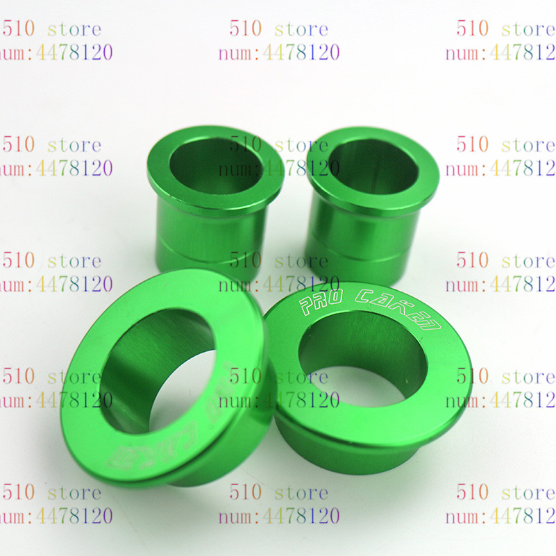 Intellective Nieuwe Cnc Billet Aluminium Groene Front & Rear Wheel Hub Spacer Kit Voor Kawasaki Kx125 Kx250 Kx250f Kx450f Dirt Bike Motoc Glanzend