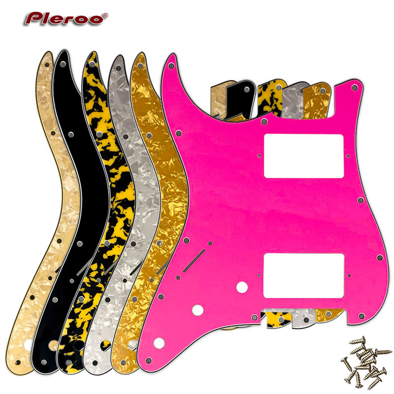 Pleroo Guitar Pickguard - For FD Stratocaster Left Handed 11 Screw Holes HH PAF Humbucker Scratch Plate Various Color Choice