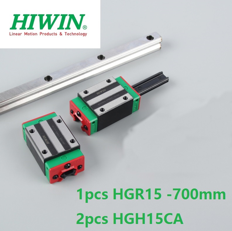 1pcs 100% original Hiwin linear guide rail HGR15 -L 700mm +2pcs HGH15CA square blocks narrow block for cnc router цена