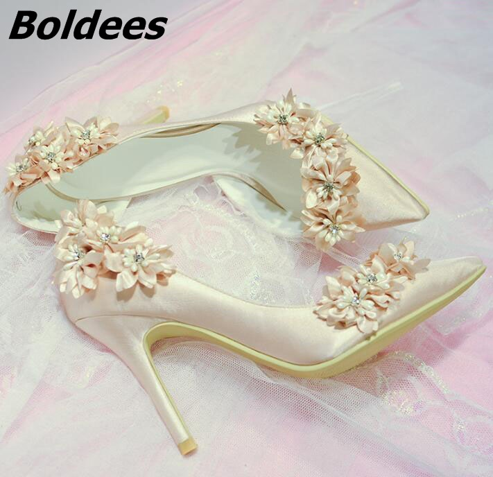 Boldees 2018 Elegant Bridal Champagne Flower High Heel Wedding Shoes Side Empty Pointed Toe Flower High Heel Pumps Dress Shoes sequined high heel stilettos wedding bridal pumps shoes womens pointed toe 12cm high heel slip on sequins wedding shoes pumps