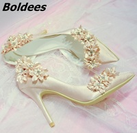 Boldees 2018 Elegant Bridal Champagne Flower High Heel Wedding Shoes Side Empty Pointed Toe Flower High Heel Pumps Dress Shoes